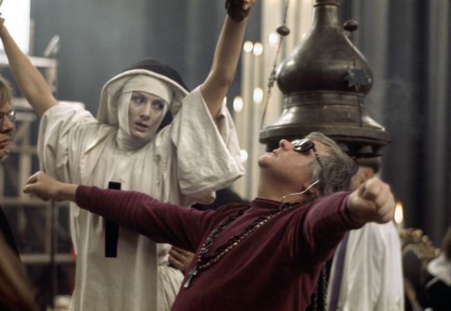 G.B. ENGLAND. Ken RUSSELL directing Vanessa REDGRAVE on the set of the film